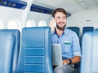 telefony, urządzenia, samolot, pokład, transport, możliwość