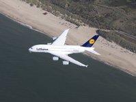 linie lotnicze, przewoźnik, lufthansa, samolot, airbus, a380, rozkład, oferowanie